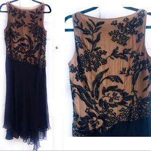 CARMEN MARC VALVO Silk Lace Embellished Dress 12